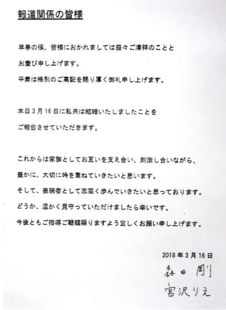 森田剛・宮沢りえ結婚