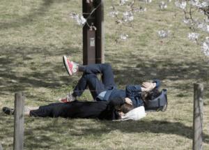 公園で寝そべる赤江珠緒アナと博多大吉