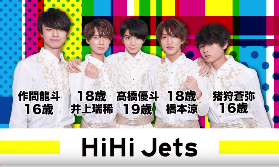 HiHiJetsの全員の年齢と顔画像と名前一覧を画像で表示