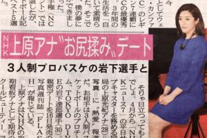 岩下達郎選手と上原光紀アナのデート報道
