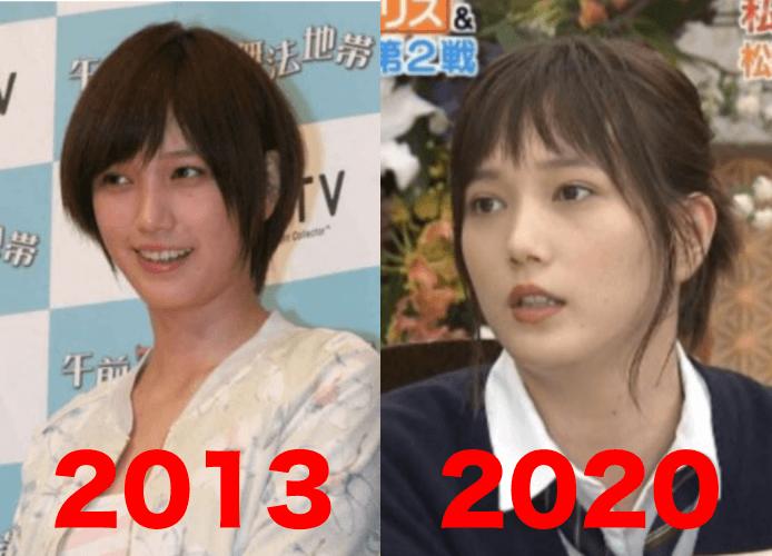 本田翼の2020年と2013年の太ったかどうかの比較画像