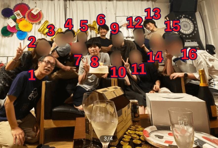 田中圭の誕生日会の写真には16人写っている?