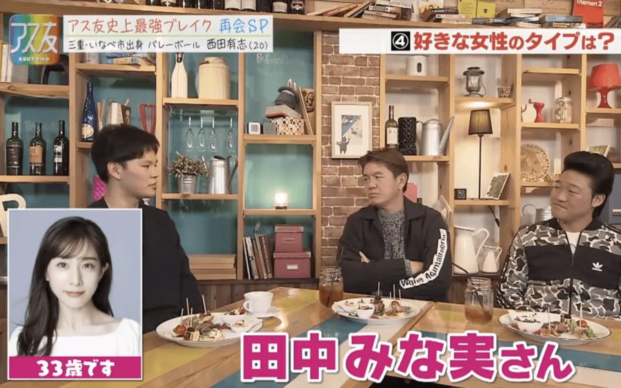 田中みな実が好みのタイプな西田有志選手