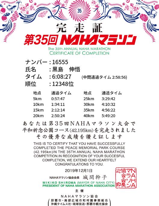 NHHAマラソン完走証黒島伸悟