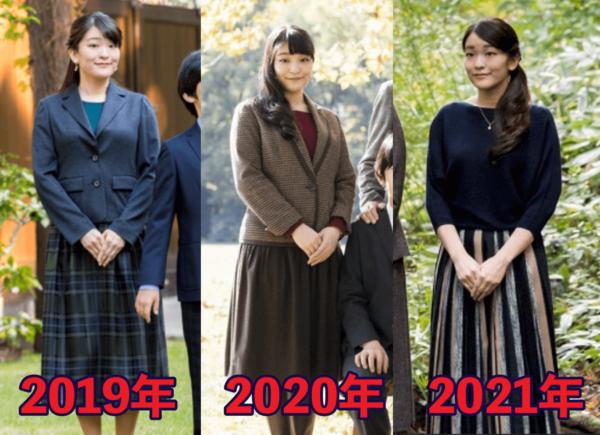 2019年から2021年の最新の眞子さまの痩せ具合を比較